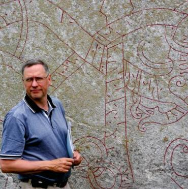 Professor Henrik Williams, a rare runologist who studies the rare and ancient runic alphabet. (Photo courtesy of the American Swedish Institute, Minneapolis)